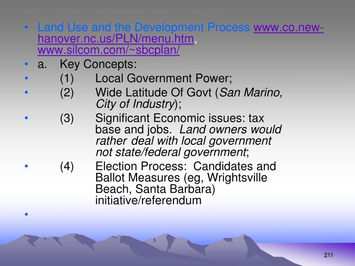 Land Use and the Development Process