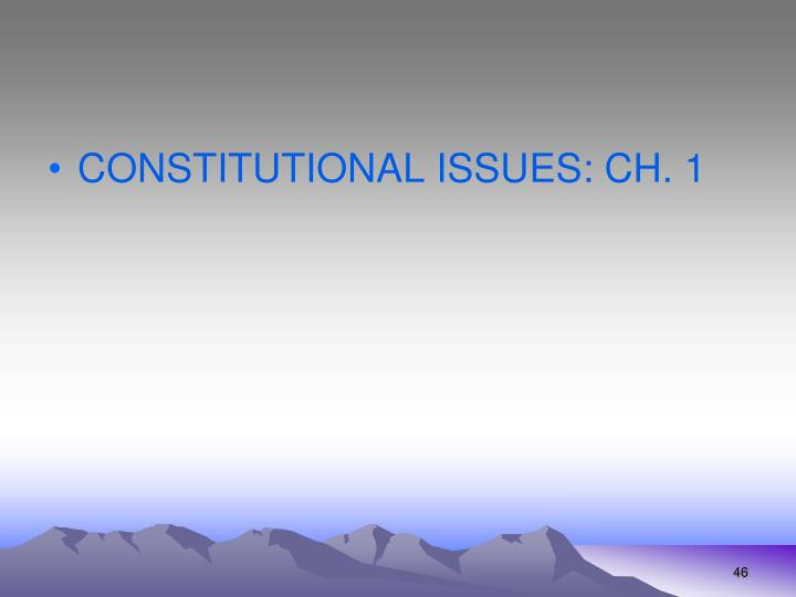 CONSTITUTIONAL ISSUES: CH. 1