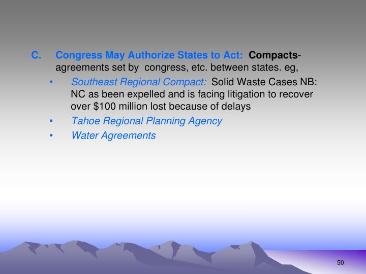 Congress May Authorize States to Act: