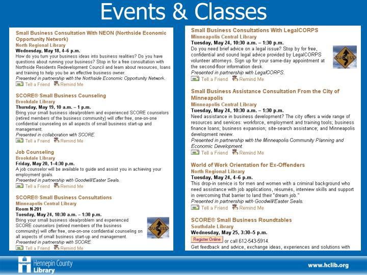 Events & Classes