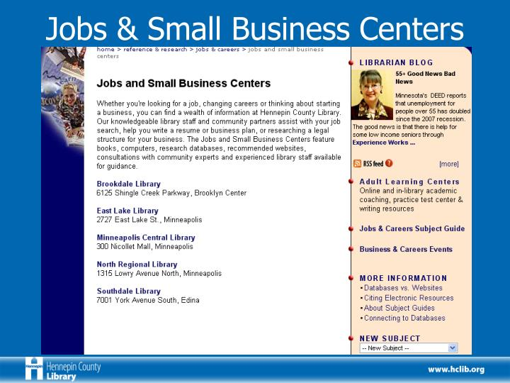 Jobs & Small Business Centers