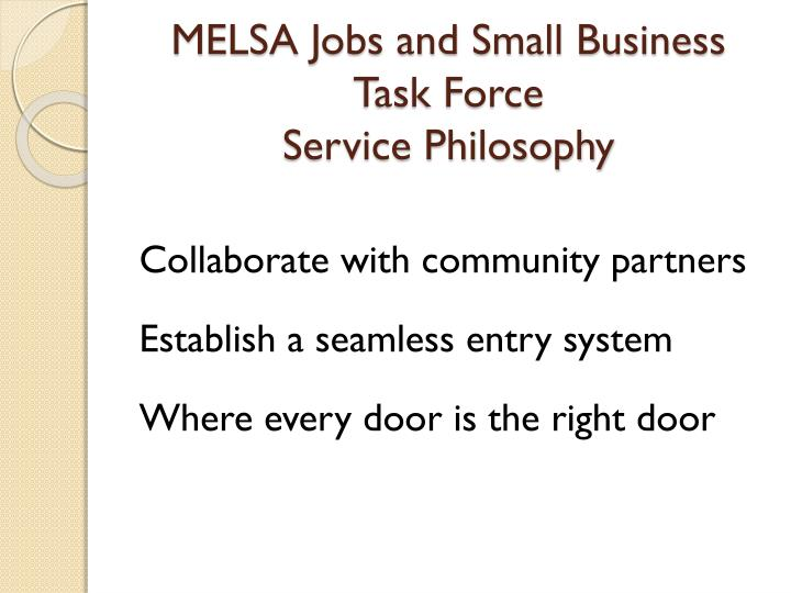 MELSA Jobs and Small Business Task Force