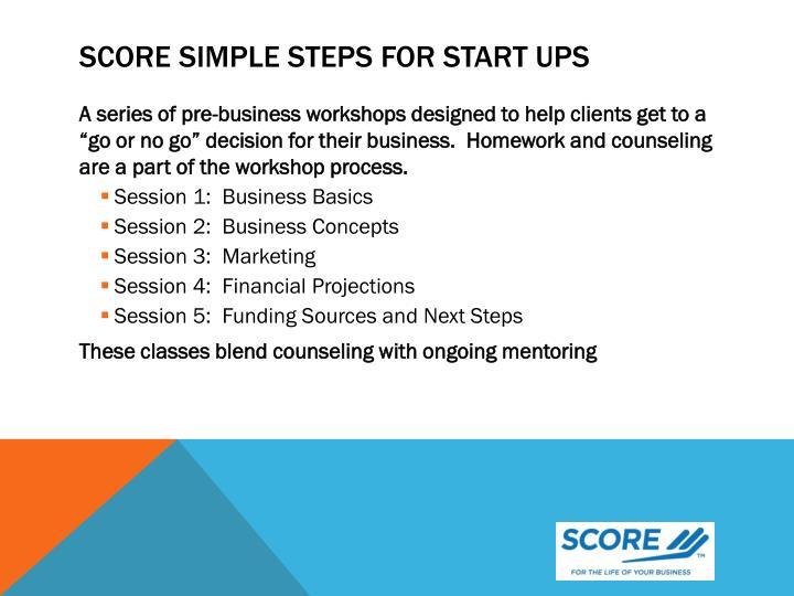 SCORE Simple Steps For Start Ups