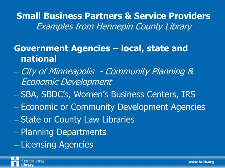 Small Business Partners & Service Providers