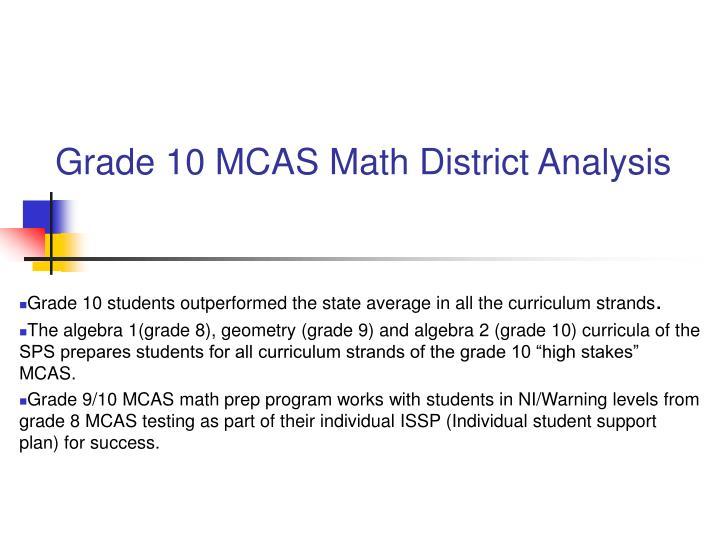 Grade 10 MCAS Math District Analysis