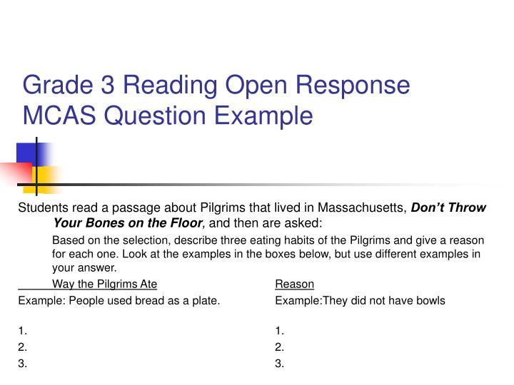 Grade 3 Reading Open Response MCAS Question Example