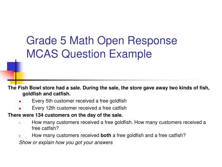 Grade 5 Math Open Response MCAS Question Example