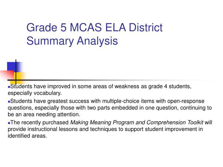Grade 5 MCAS ELA District Summary Analysis