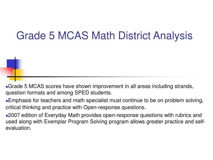Grade 5 MCAS Math District Analysis