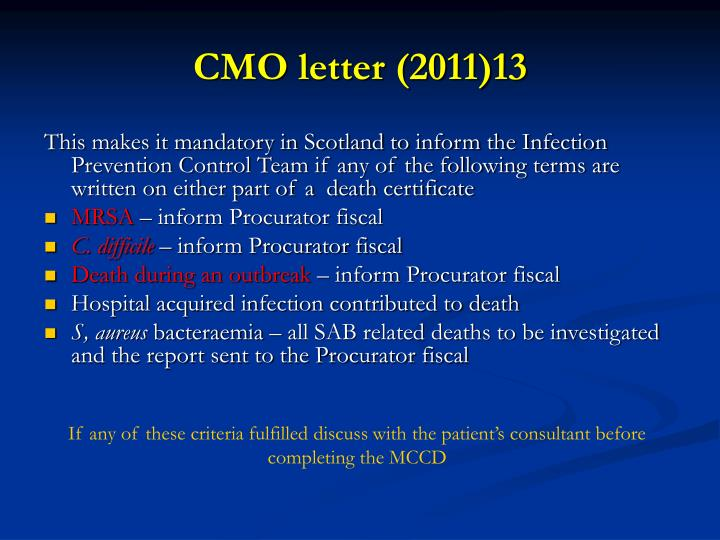 CMO letter (2011)13