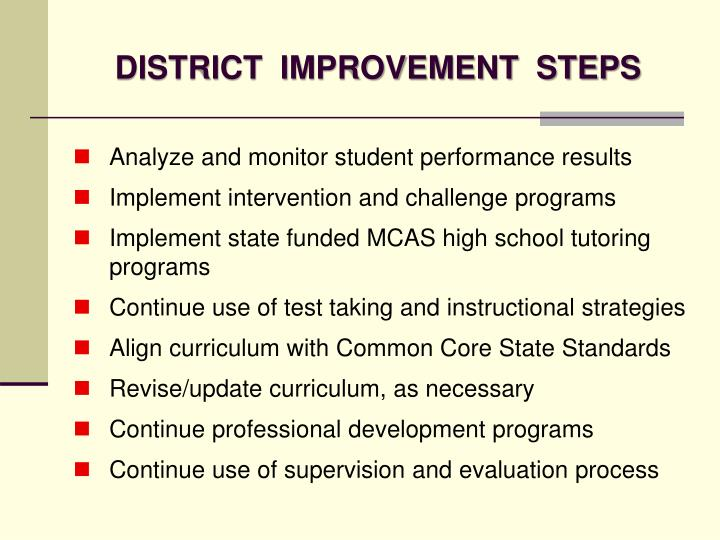 DISTRICT  IMPROVEMENT  STEPS