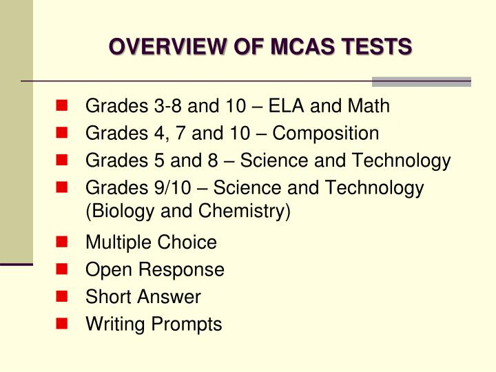 OVERVIEW OF MCAS TESTS