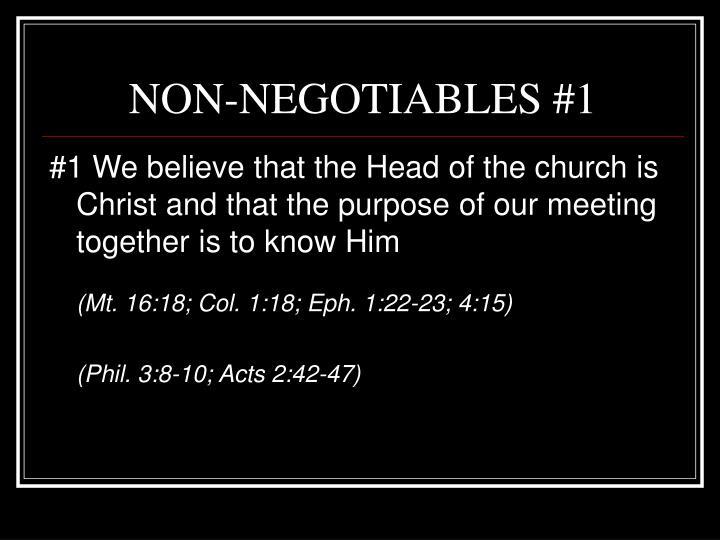 NON-NEGOTIABLES #1