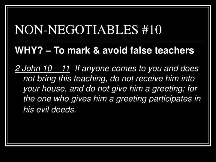 NON-NEGOTIABLES #10