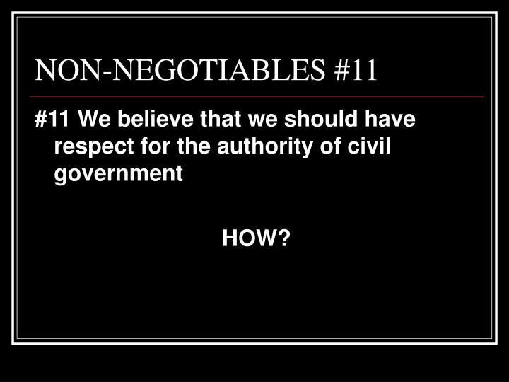 NON-NEGOTIABLES #11
