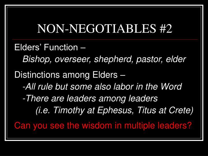 NON-NEGOTIABLES #2