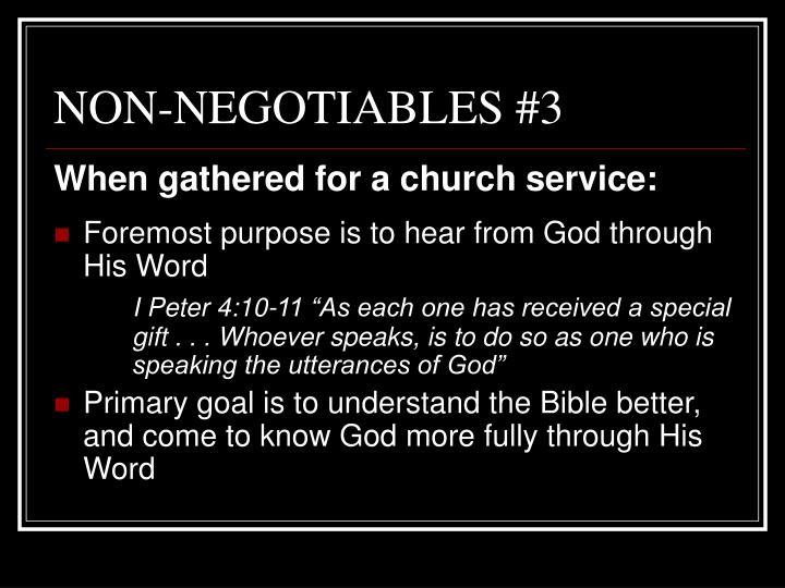 NON-NEGOTIABLES #3