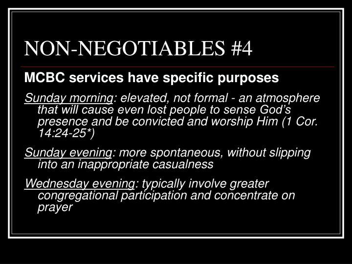 NON-NEGOTIABLES #4