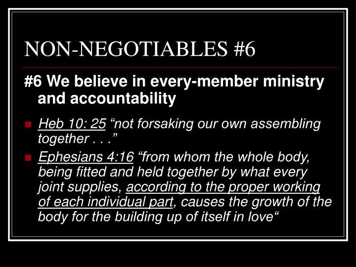 NON-NEGOTIABLES #6