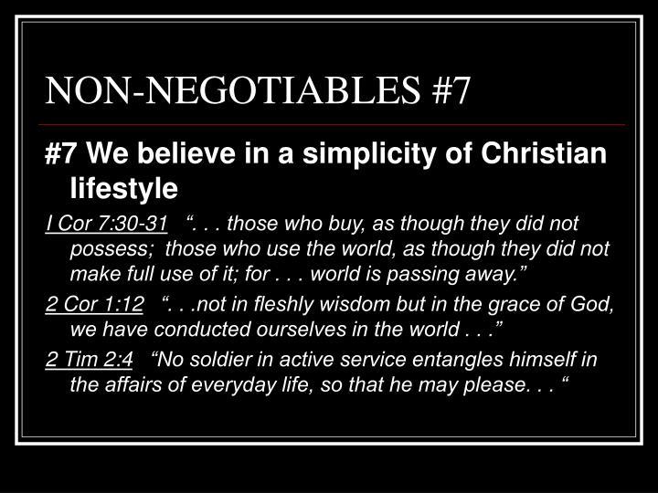 NON-NEGOTIABLES #7