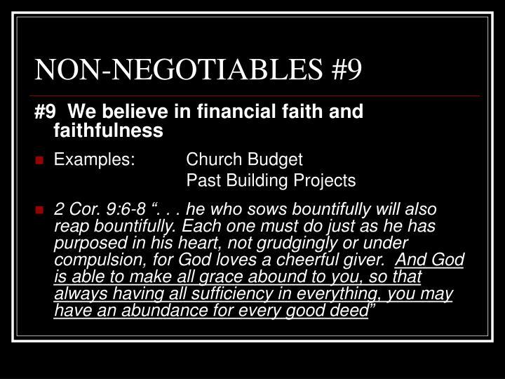 NON-NEGOTIABLES #9