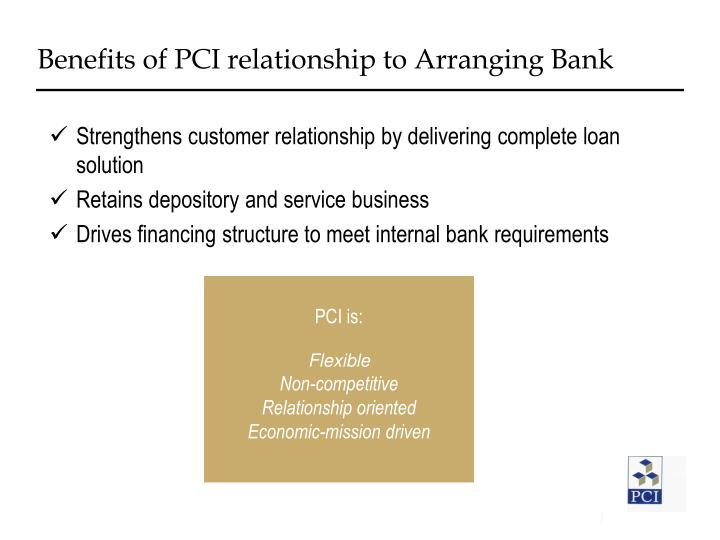 Benefits of PCI relationship to Arranging Bank