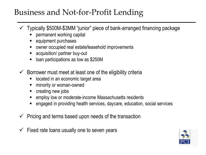 Business and Not-for-Profit Lending