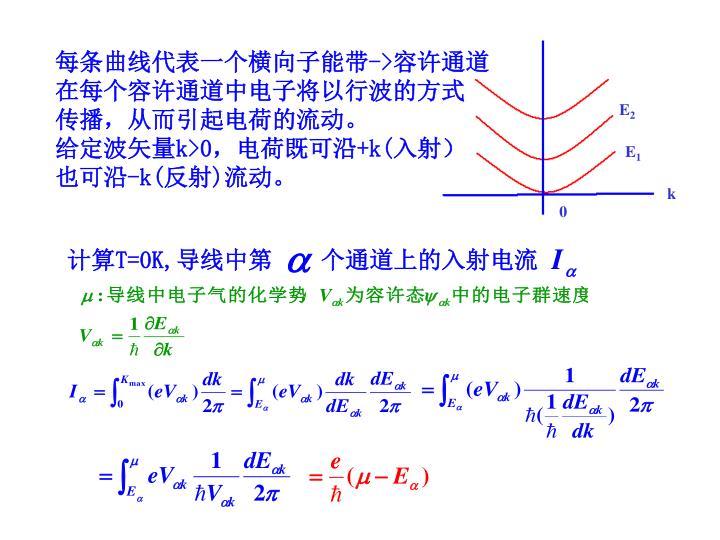 每条曲线代表一个横向子能带