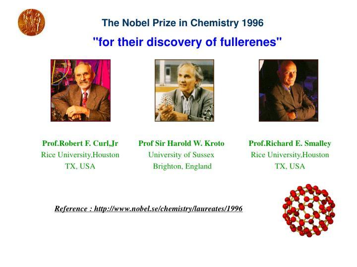 The Nobel Prize in Chemistry 1996