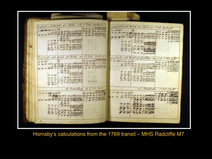 Hornsby's calculations from the 1769 transit – MHS Radcliffe M7