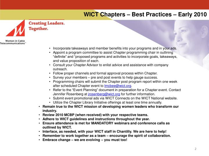 Wict chapters best practices early 20101