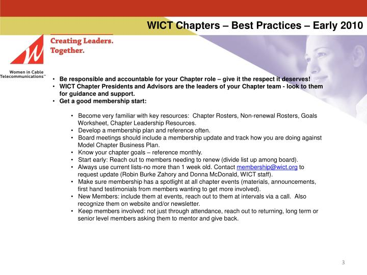 Wict chapters best practices early 20102