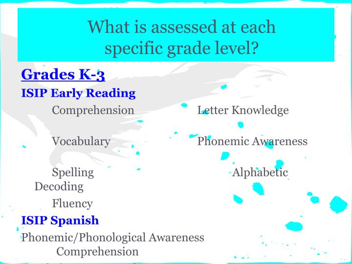 What is assessed at each