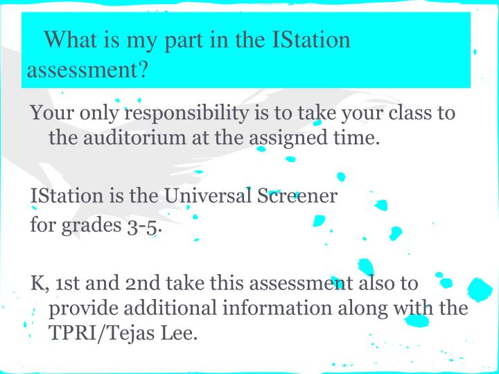 What is my part in the IStation assessment?