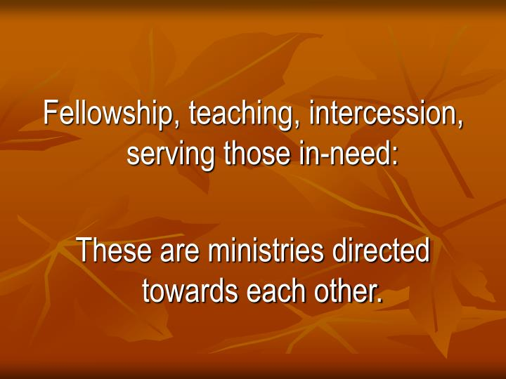 Fellowship, teaching, intercession, serving those in-need: