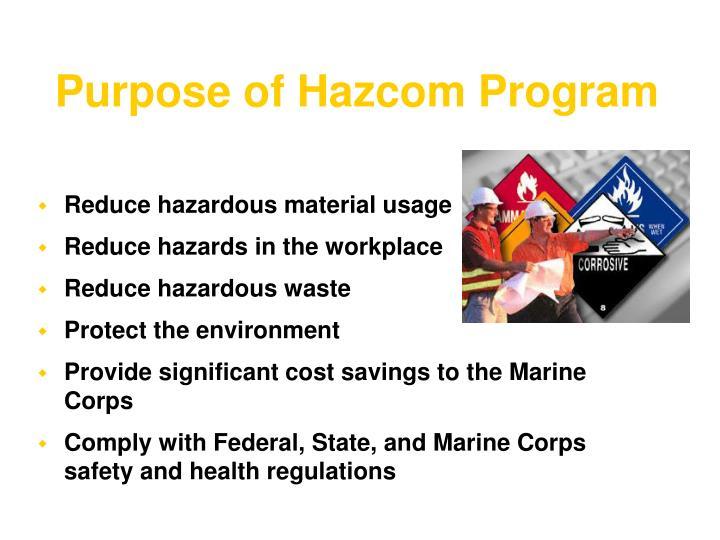Purpose of Hazcom Program
