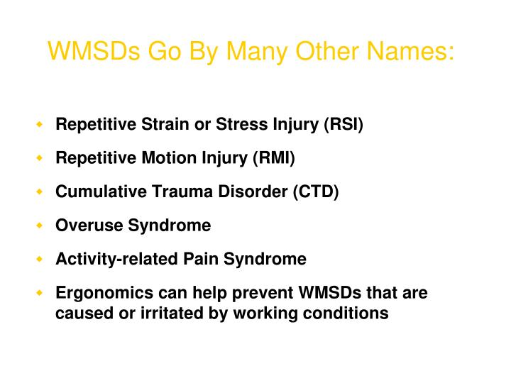 WMSDs Go By Many Other Names: