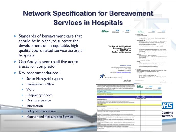 Network Specification for Bereavement Services in Hospitals
