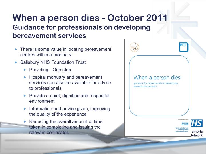 When a person dies - October 2011