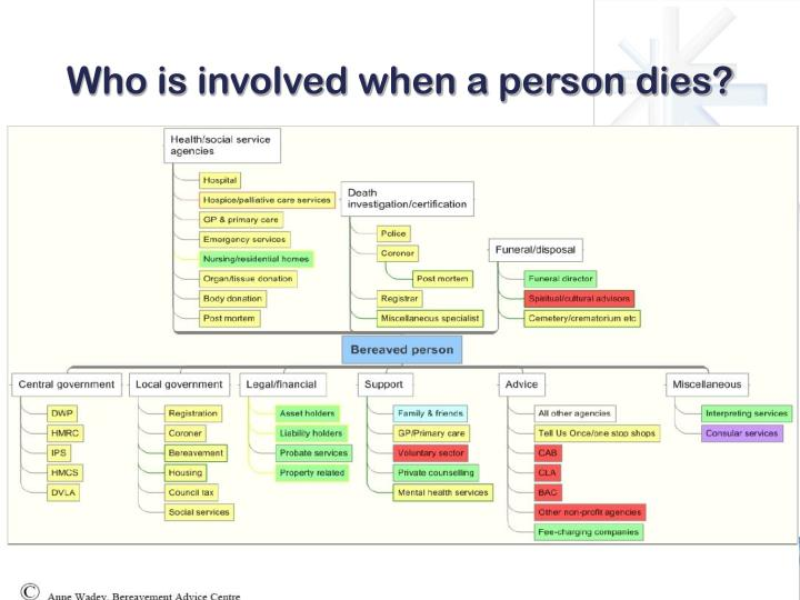 Who is involved when a person dies?