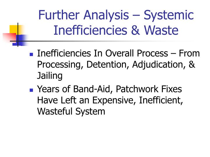 Further Analysis – Systemic Inefficiencies & Waste