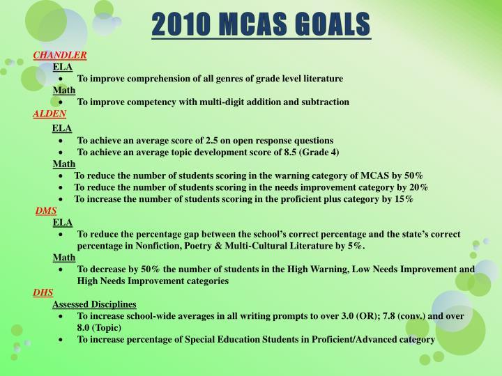 2010 MCAS GOALS