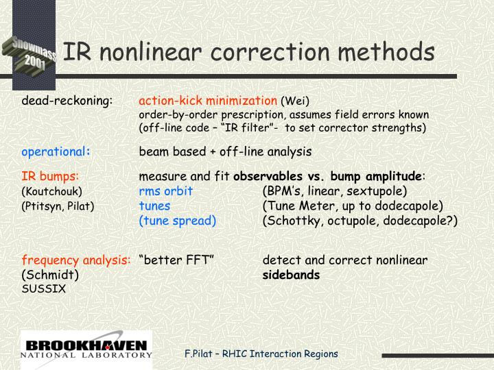 IR nonlinear correction methods