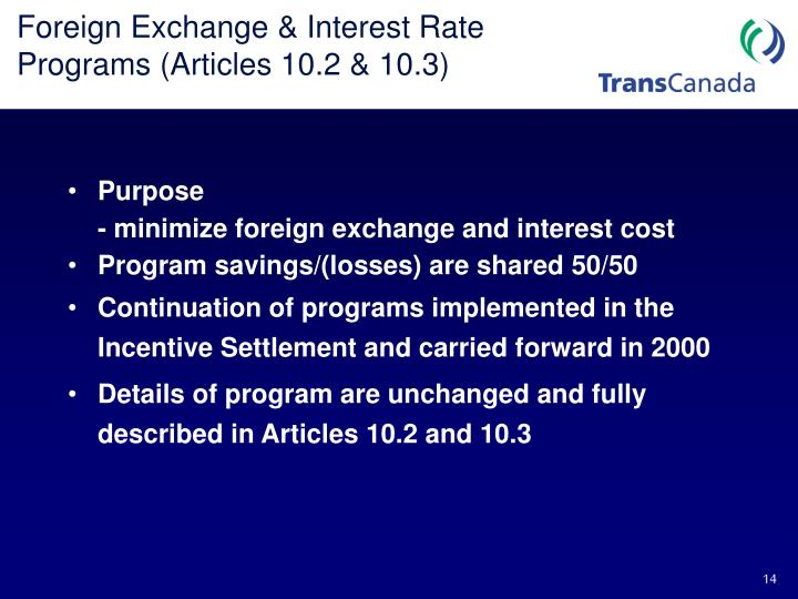 Foreign Exchange & Interest Rate Programs (Articles 10.2 & 10.3)