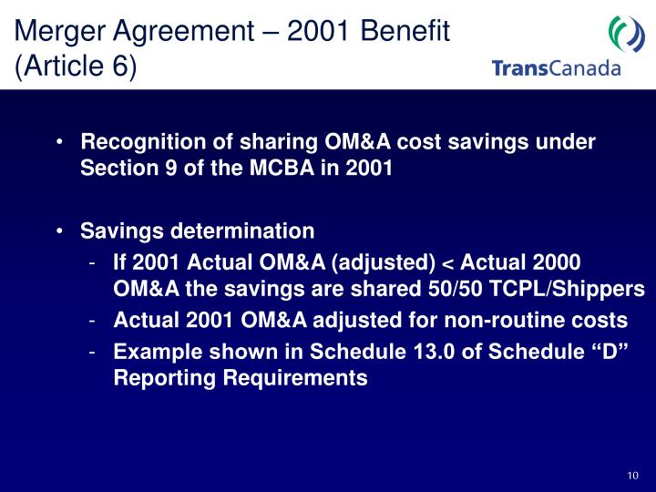 Merger Agreement – 2001 Benefit (Article 6)