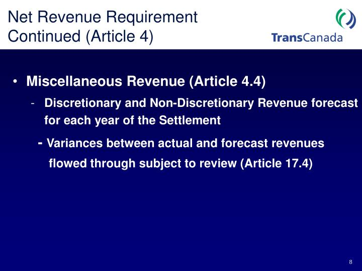 Net Revenue Requirement Continued (Article 4)