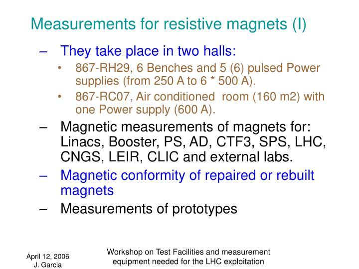 Measurements for resistive magnets (I)