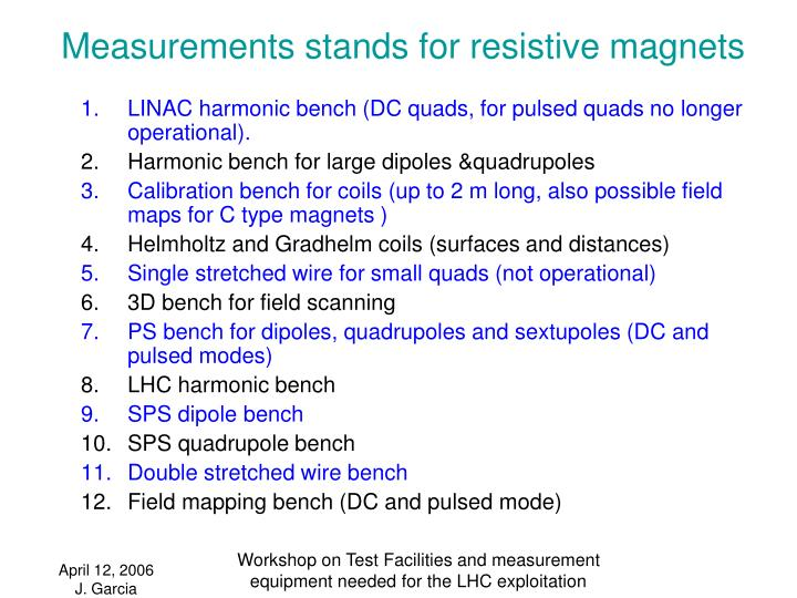 Measurements stands for resistive magnets