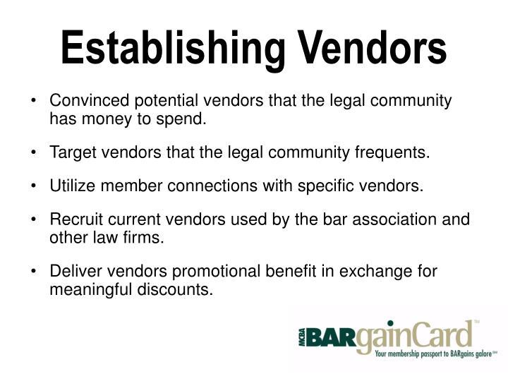 Establishing Vendors
