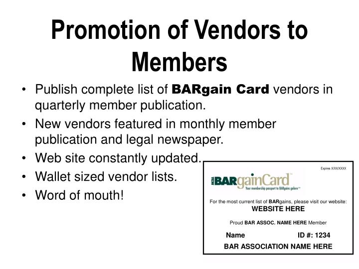 Promotion of Vendors to Members